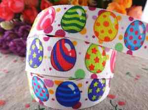 ✜ 1m HAPPY EASTER RIBBON CHICKS BUNNIES GROSGRAIN ✜
