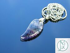 Multi Fluorite Gemstone Angel Wing Pendant Necklace Natural Chakra Healing Stone