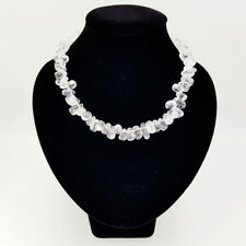 Natural REAL Clear Crystal Quartzs Approx 8-11mm Choker Fashion Necklace 18''