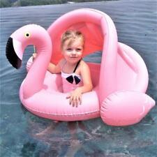 Kid Baby Pink Flamingo Inflatable Sun Shade Swimming Ring Seat Pool Float 6-36M