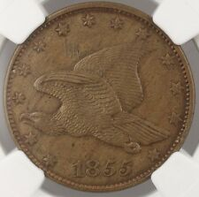 1855 Flying Eagle 1c Penny Large Cent US Pattern Coin J-168 NGC UNC Details WW
