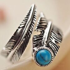 925 Sterling Silver Feather Ring with Turquoise Adj Size Biker Punk Gothic Retro