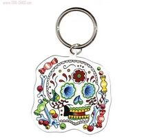 """Sunny Buick - Candy Sugar Skull - Day of the Dead Metal Keychain  Size: 2"""" x 2"""""""