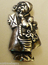Figural Sterling Silver .925 Girl with basket Little Red Riding hood pin brooch