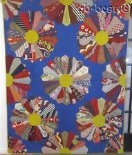 Vibrant Folk Art Grandfather's Tie Vintage Quilt Made by AUNT MINNIE Blue Orange