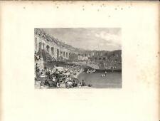 Stampa antica VEDUTA di NIMES anfiteatro Francia 1844 Ancien Gravure Old Print