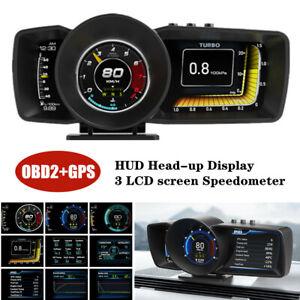 HUD Head-up Display OBD2+GPS Speedometer Temp Gauge LCD Table Driving Computer