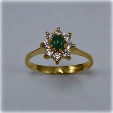 22ct Gold Cabochon Emerald & Cubic Zirconia Cluster Ring