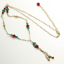 Vintage Gold Filled Paperclip Chain Crystal Glass Bead Tassel Choker Necklace