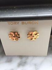 TORY BURCH  DOUBLE T LOGO 16K GOLD PL STUD EARRINGS  on CARD