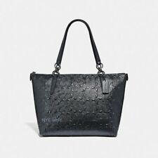 Coach F38091 Ava Tote In Signature Patent Leather Charcoal Shoulder Bag