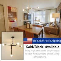 Modern 5 Lights Chandeliers Pendant Light Industrial Gold Metal US