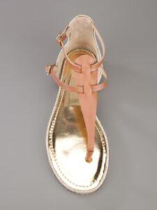 Jimmy Choo Pabla Gold Tan Double Strap Flat Espadrilles Sandals UK 4 37