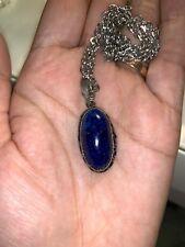 Beautiful Vintage Lapis Lazuli Large Pendant Necklace Silver Tone