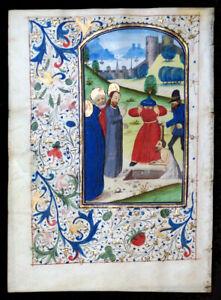 ILLUMINATED MANUSCRIPT BOOK OF HOURS LEAF, c. 1475, RAISING OF LAZARUS