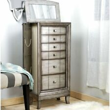 Jewelry Armoire Chest Silver Wood Box Tall Vintage Storage Stand Organizer NEW