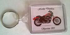 Harley Davidson Sportster 883 Acrylic Keyring Passport image  size 45mm x 35mm