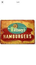 """TIN SIGN """"Hamburger"""" Rustic Food Beef Comedy Kitchen Cafe Rustic Vintage Farm By"""