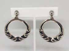 "Vintage Alpaca Mexico Screw Clip On Hoop Earrings 1-1/2"" Round Estate Find EUC"