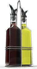 Royal Oil and Vinegar Bottle Set with Stainless Steel Rack and Removable Cork