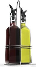 Royal Oil & Vinegar Bottle Set with Stainless Steel Rack and Removable Cork