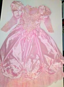pink vintage long sleeve SOUTHERN BELLE wedding dress 80's lace & satin