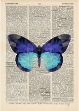 Butterfly Blue Geometric Dictionary Art Print Vintage Minimalist polygonal