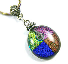 DICHROIC PENDANT Fused Glass Blue Pink Copper Orange Gold Beaded Pewter Bail