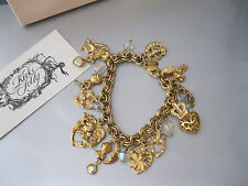 """KIRKS FOLLY """"CAMELOT CHARMS BRACELET"""" GOLD FINISH/CRYSTALS #1 B-2 9/4 BEAUTIFUL!"""