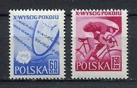 35635) Poland 1957 MNH Peace Bicycle Race, 2v Scott #