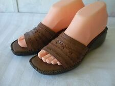 NATURALIZER Leather Slide Mule Shoes Made in Brazil Brown NEAR MINT 6-1/2 N