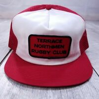 Vintage Terrace Northmen Rugby Patch Trucker Hat Cap Red Snapback K-Brand
