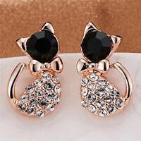 1 Pair Women Fashion Earrings Elegant Cat Crystal Rhinestone Ear Stud Earri BH