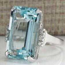 Woman Vintage Aquamarine Silver Bridal Wedding Ring Fashion Jewelry Size 6-10