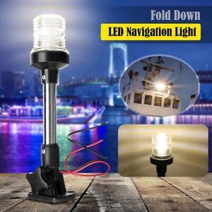 "10"" Marine Boat Yacht Fold Down LED Navigation Stern Anchor Aluminum Pole Light"