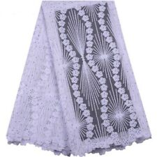White Embroidery African Lace Fabric Rhinestone Beaded French Tulle Mesh 1yard