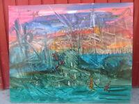 Huile sur toile tableau fantastique signé PIERRE CHALOU