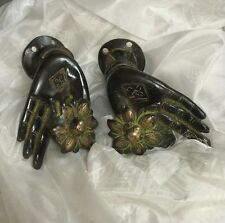 KRISHNA'S HANDS. HIGHLY DECORATIVE DOOR OR CABINET HANDLES, CAST in BRONZE.