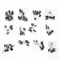 120pcs 12 Values 1uF-470uF Electrolytic Capacitors Assorted Kit Assortment Set