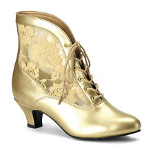 Gold Victorian Era Marie Antoinette Ankle Boots Costume Shoes size 8 9 10 11 12