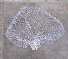 White Ivory Silver Pearl Diamante Bridal Birdcage Veil Silver Hair Clip 3854