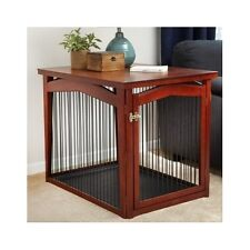 Dog Crate Gate Wood Large 3in1 Room Divider Puppy Kennel Bed Furniture End Table