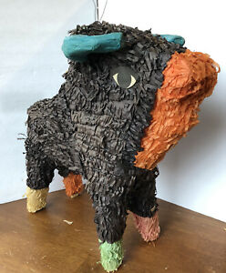 Vintage Bull Pinata (made In Mexico- In Black W/ Orange, Teal, Green & Pink)