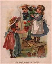CHILDREN GARDENING, Watering Potted Plants, Chromolithograph, Original 1885