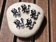 5 Metall Anhänger schwarze Katze Charm Emaille Bettelanhänger
