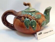 Vintage Pumpkin Teapot Porcelain Bisque Ceramic Halloween Autumn Tea Pot CUTE