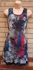 ANGEL tye ART artistique funky print gris multi color Baggy Long Tunique S M