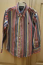 Boys RALPH LAUREN Red Blue Yellow White Striped LS Dress Shirt EASTER 3/3T EUC