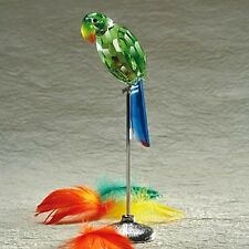 2 PC HUGE FACETED CRYSTAL PARROT FIGURINE TALL Big sale NEW IN BOX DELUXE