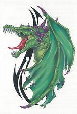 Tribal Green & tribal Dragon colorful Temporary Tattoo NEW!
